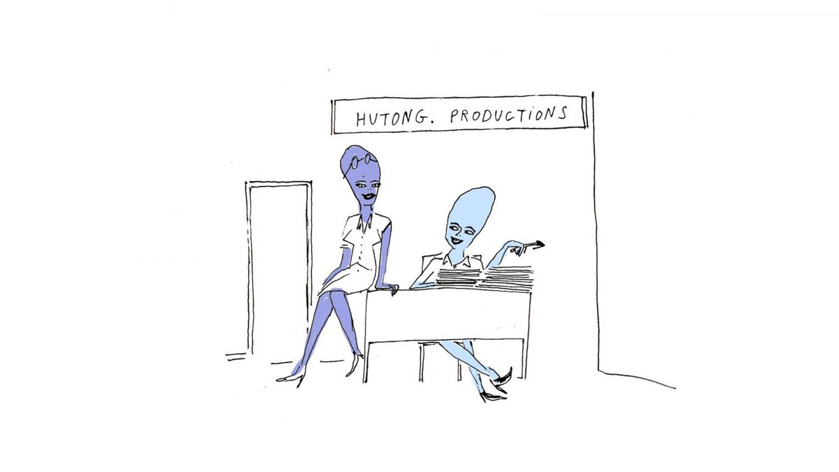 Drawing of two aliens in an office